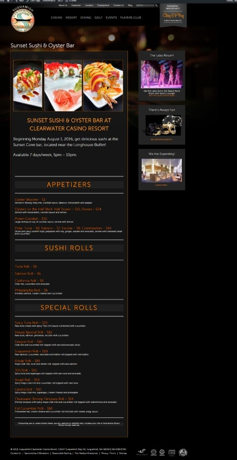 Clearwater Casino Sushi Page